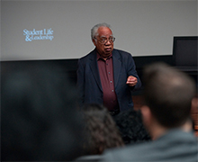 Joseph L. White, professor emeritus of social sciences, led a teach-in at UCI's Cross-Cultural Center, kicking off Black History Month events