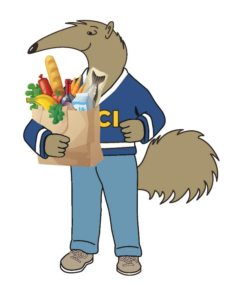 peter the anteater with groceries