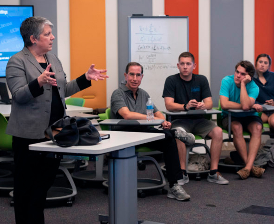 UC President Janet Napolitano pops into UCI class to promote student voting