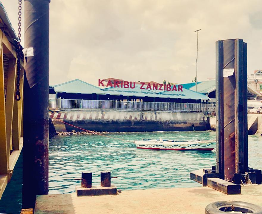 """Karibu Zanzibar [Welcome to Zanzibar]"" sign upon reaching the main island from the Dar es Salaam ferry."