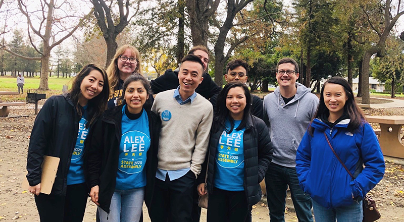 Allison Lim (center) and now-Assemblymember Alex Lee with campaign staff. courtesy of Allison Lim.