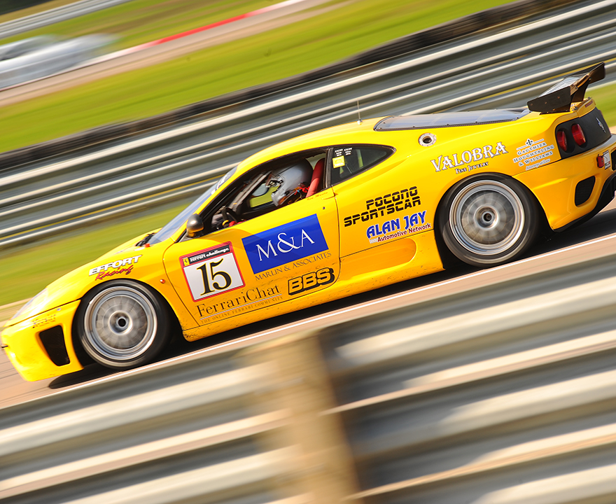 Marlin's love of speed includes competitively racing in his Ferrari F360.