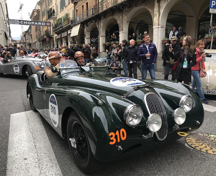 """Marlin drives his 1954 Jaguar across Italy in the Mille Miglia, """"1,000 Mile,"""" race"""