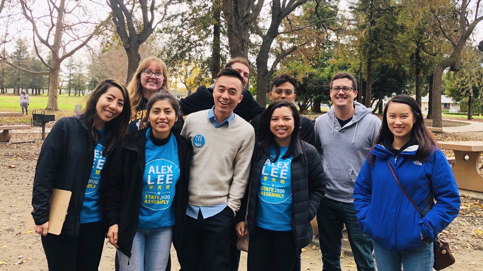 Allison Lim (center) and now-Assemblymember Alex Lee with campaign staff.